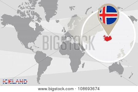 World Map With Magnified Iceland