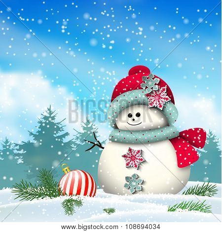 Cute snowman in snowy winter landscape, illustration