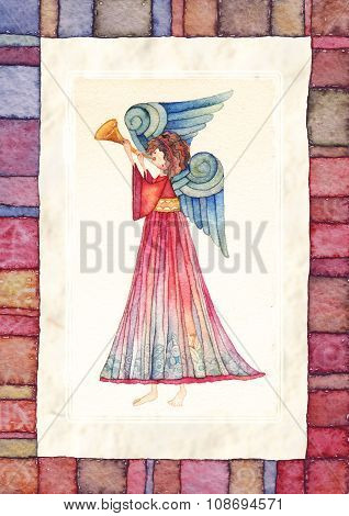Angel with trumpet .watercolor.