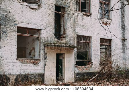 Facade of Old Abandoned Building.  Chernobyl Disasters