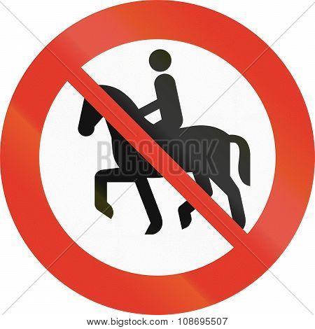 Norwegian Regulatory Road Sign - No Equestrians