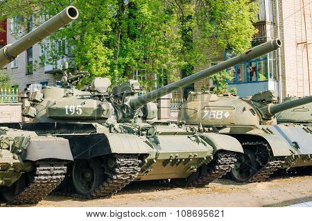 The old russian Soviet tanks