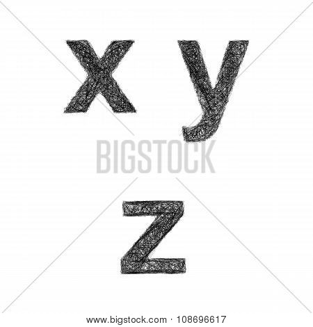 Sketch font set - lowercase letters x, y, z