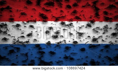 Flag of the Netherlands, Dutch Flag painted on wall with bullet holes