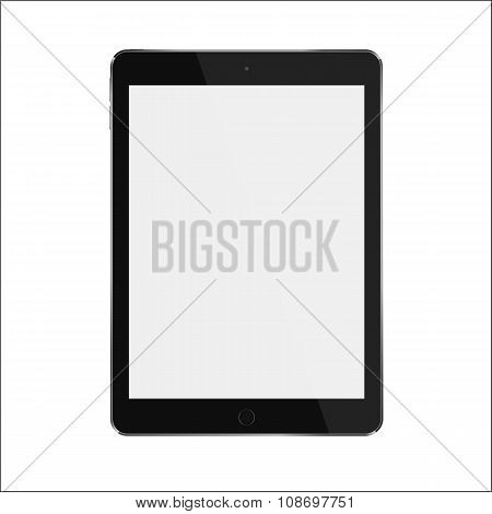 Black realistic smart tablet with blank white screen. Vector illustration eps 10