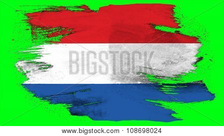 Flag of the Netherlands, Dutch Flag painted with brush on solid background, paint texture