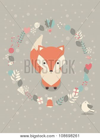 Cute Christmas Baby Fox Surounded With Floral Decoration
