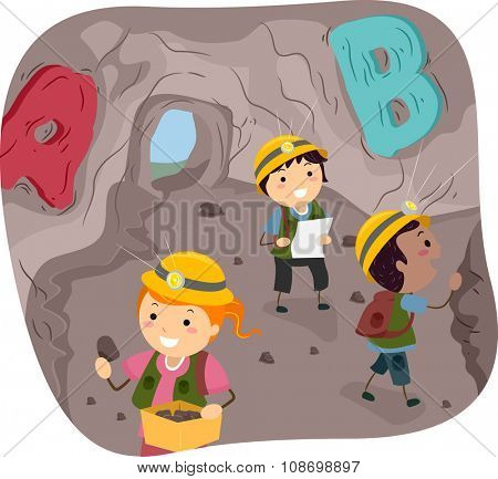 Stickman Illustration of Little Kids Exploring a Cave