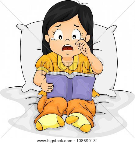 Illustration of a Sad Little Asian Girl Crying Over the Story She is Reading