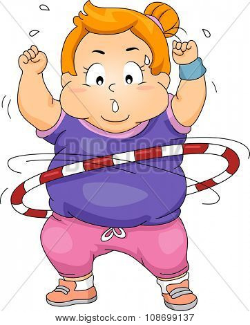 Illustration of an Overweight Girl Exercising by Using a Hula Hoop