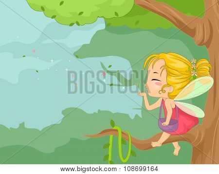 Whimsical Illustration of a Little Fairy Blowing Fairy Dust