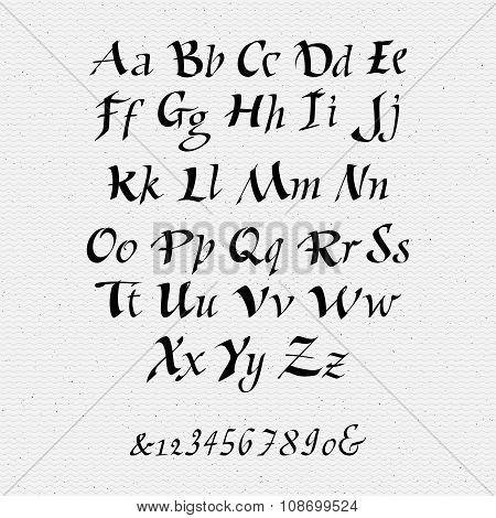 Ruling pen script lettering font, handwritten calligraphic alphabet
