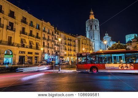 Reina square in Valencia at night