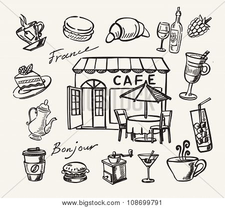 Vector hand drawn of cafe