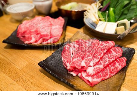 Set of boil food, Japanese hot pot