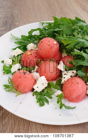 Watermelon Salad With Arugula And Feta