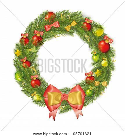 Christmas Wreath With Bows, Streamers, Stars, Christmas Balls. Vector Illustration