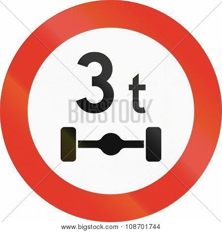 Norwegian Regulatory Road Sign - Axle Load Limit