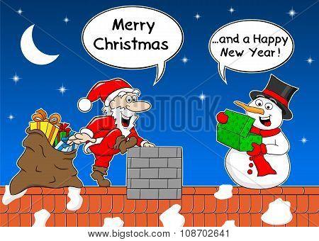 Santa Claus Gives A Gift To A Snowman At Christmas