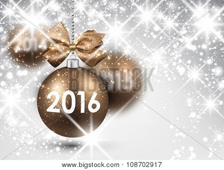 2016 New Year background with gold balls. Vector illustration.