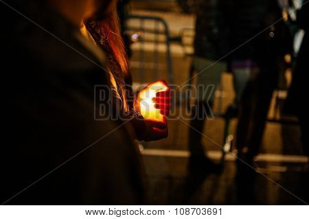 People Gathering With Candles