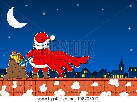 Santa Claus Hero At Work On A Roof