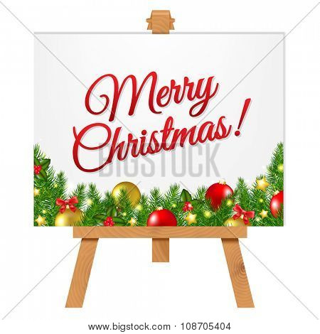Banner With Christmas Border With Gradient Mesh, Vector Illustration