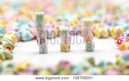 Word Happy New Year  With Origami Lucky Stars