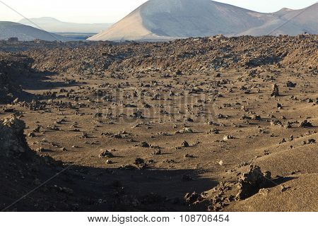 Volcanic Stone Formations In Timanfaya National Park In Lanzarote, Spain