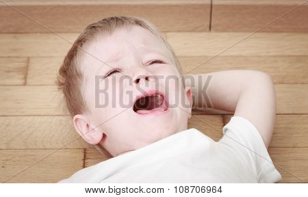 crying child in tears