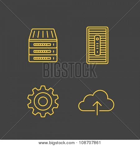 Network devices and hosting icons. Network connections. Vector outlined icons. Linear style