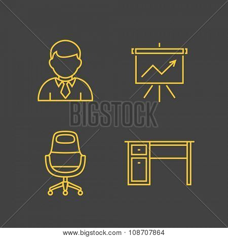 Finance and account services icons. Outline vector icons. Linear style