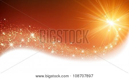 Orange sparkling card with petard. Vector illustration.