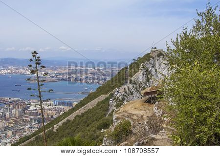 background landscape view of the Rock of Gibraltar, an abandoned military battery, weather station