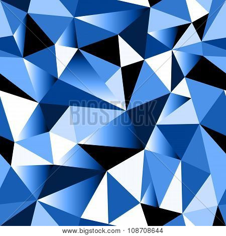 Abstract Blue Gradient Geometric Rumpled Triangular Seamless Low Poly Style Background
