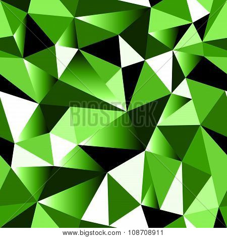 Abstract Green Gradient Geometric Rumpled Triangular Seamless Low Poly Style Background