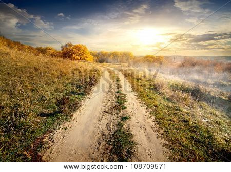 Country road in fog
