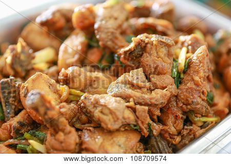 Sauteed Spicy Chicken With Herb, Close Up