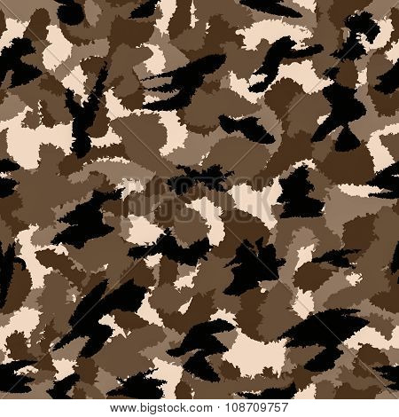 Desert Brown War Camouflage Seamless Pattern. Can Be Used For Wallpaper, Pattern Fills, Web Page Bac