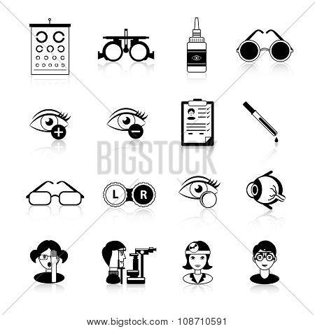 Ophthalmology Black White Icons Set
