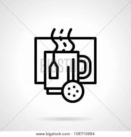 Cup with hot drink black line vector icon