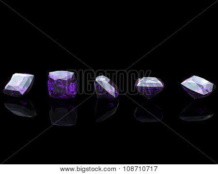 Luxury Jewelry Background with gemstones. Diamond. Amethyst
