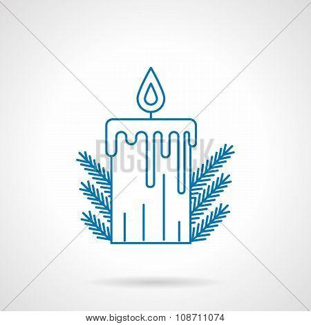 Blue line Xmas candle
