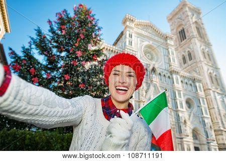 Tourist With Italian Flag Taking Selfie In Christmas Florence