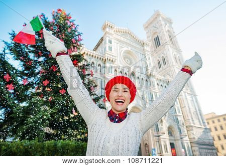 Woman Traveler With Italian Flag Enjoying Christmas In Florence