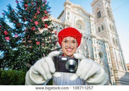 Woman Tourist Taking Photo In ?hristmas Decorated Florence