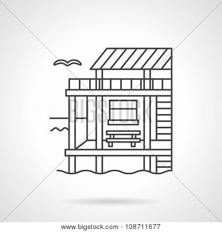 Bungalow black flat line vector icon