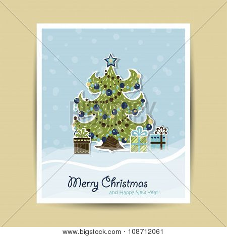 Christmas card with elegant Christmas tree and gifts