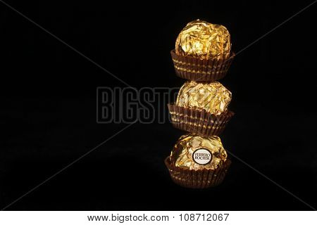 MONTREAL, CANADA - FEBRUARY 05, 2015: Ferrero Rocher is a chocolate sweet made by Italian Ferrero Spa. Rocher comes from French and means