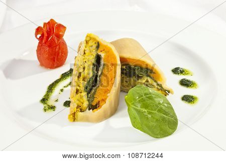 Potato Roulade With Spinach, Carrot And Curry Rice